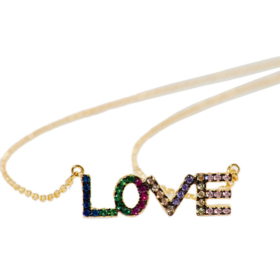 Multicolor LOVE Necklace St. Silver