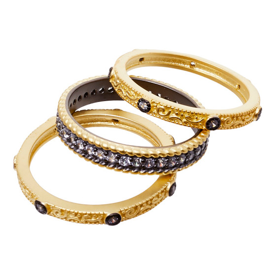 Stackable rings - three gold and black design