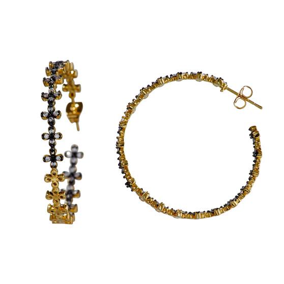 Gold Pewter Gemstone Earring
