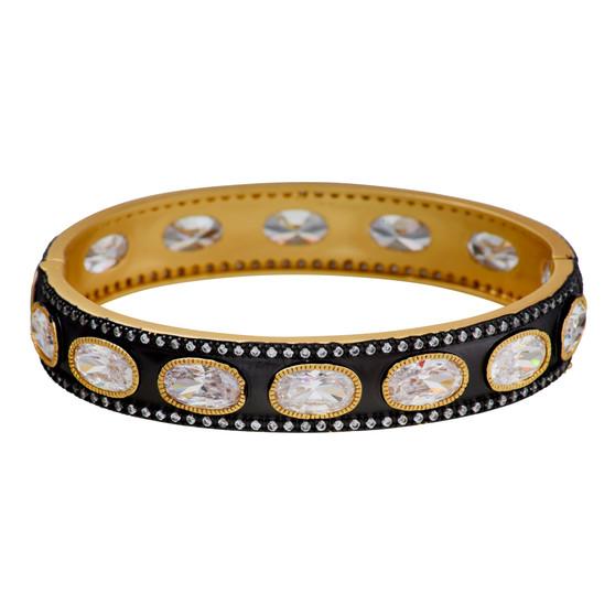 Gold Pewter Gemstone Bangle