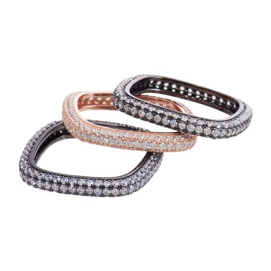 Rhodium and Rose Gold Ring Set
