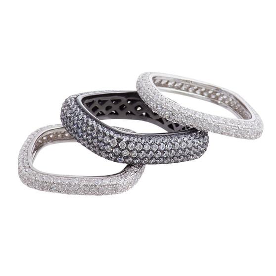 Silver and Rhodium Medium Ring Set