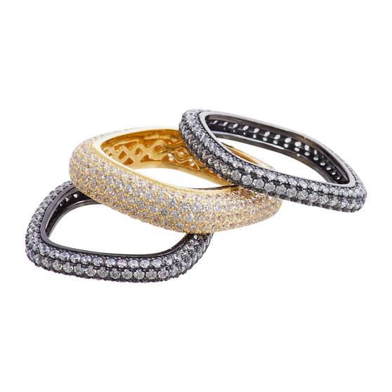 Rhodium and Gold Medium Ring Set