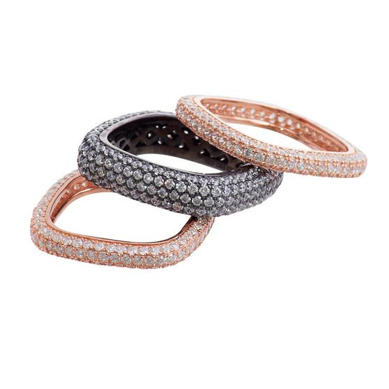 Rose Gold and Rhodium Medium Ring Set