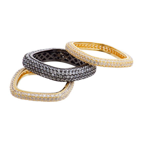 Gold and Black Square Ring Set