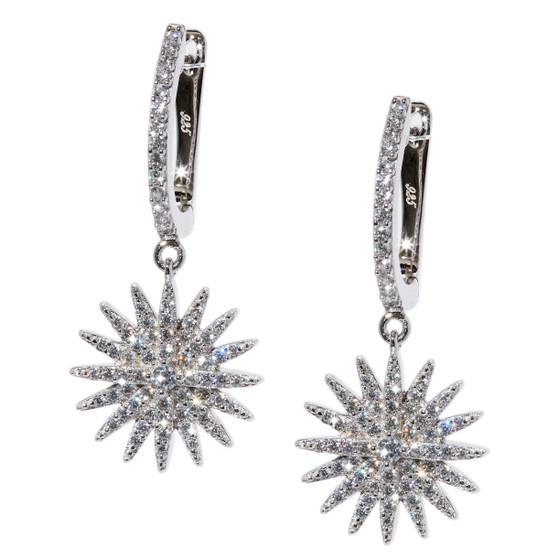 Starburst Dangle Earrings - Silver