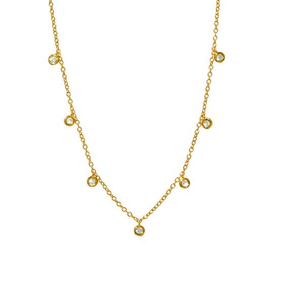 Gemstone Dangle Necklace - Gold
