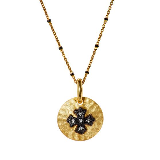 Gold Cross Pendant - Black Beads