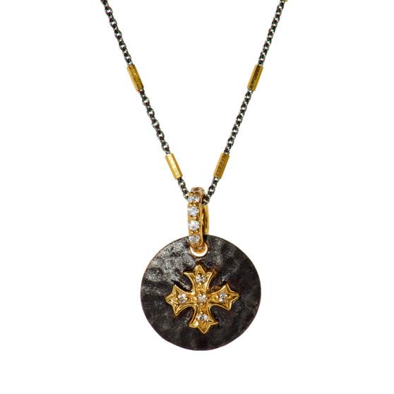 Gold Cross Pendant - Black Chain