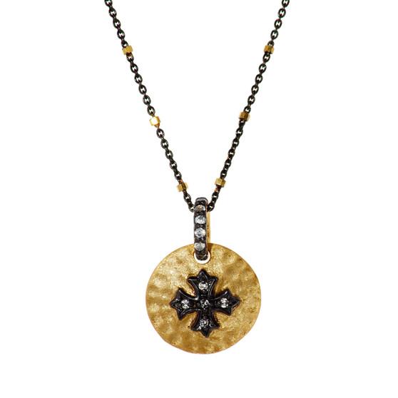 Gold Cross Pendant - Gold Beads