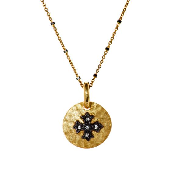 Gold Cross Pendant - Gold Chain Black Beads