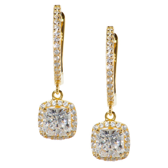 Sq CZ Dangle Halo Earings available in 4 colors