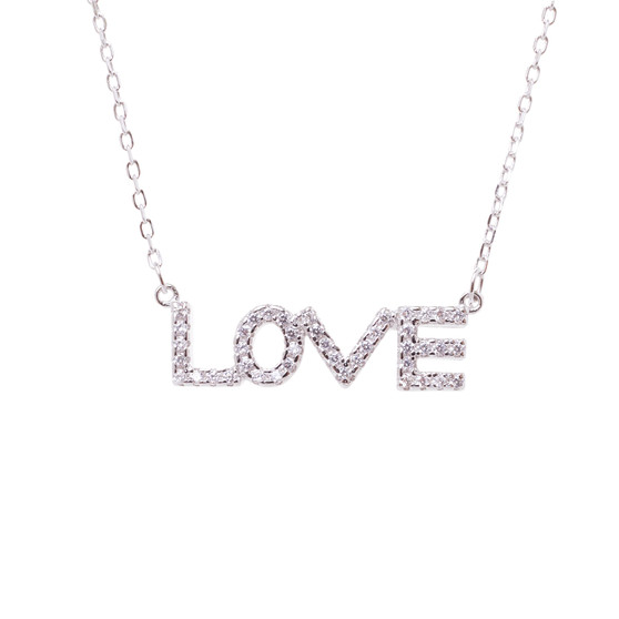 Block Letter LOVE Necklace St. Silver