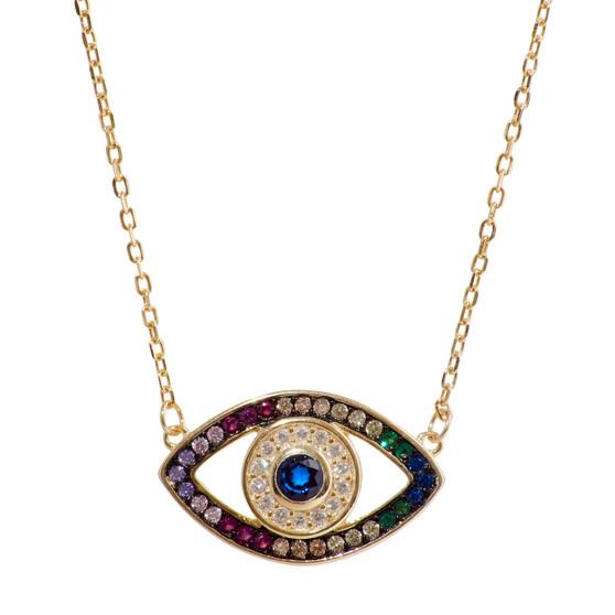 Evil Eye Rainbow Gold Pendant