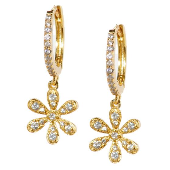 Gold Hoop Drop Flower Earrings