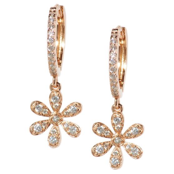 Rose Gold Hoop Drop Flower Earrings
