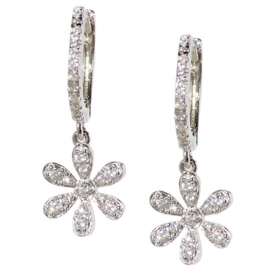 Silver Hoop Drop Flower Earrings