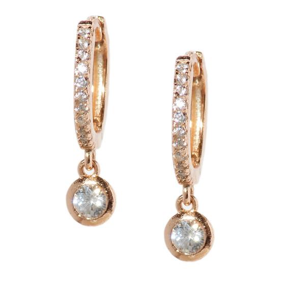 Rose Gold Hoop Drop Circle Earrings