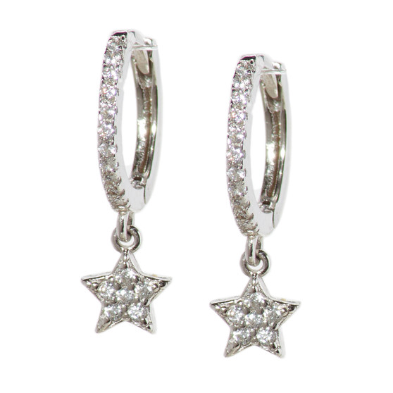 Silver Hoop Drop Star Pattern Earrings