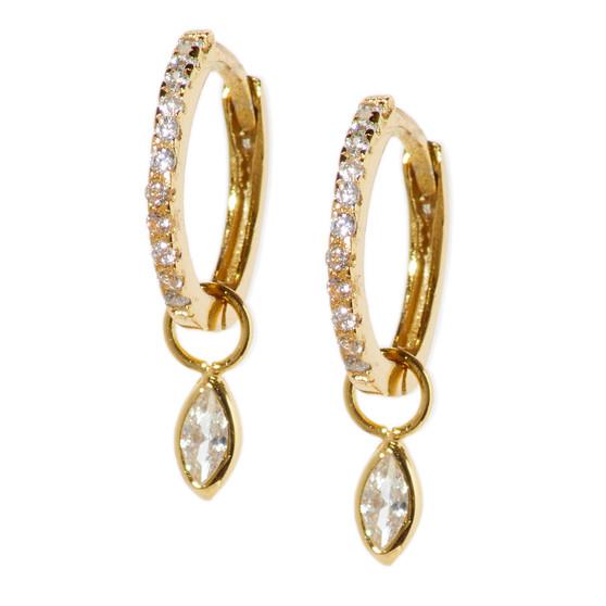 Gold Hoop Drop Tear Pattern Earrings