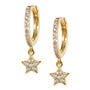 Gold Hoop Drop Star Pattern Earrings