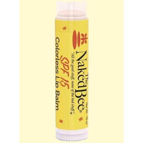 Naked Bee Colorless Lip Balm Sunscreen SPF 15 0.15 Oz.