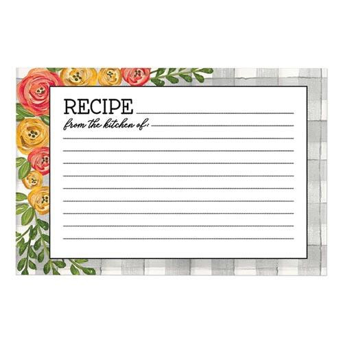 Brownlow Gifts Recipe Cards 4 x 6 - Floral