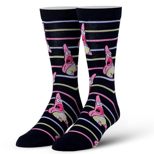 Cool Socks Men's Crew Socks - Surprised Patrick Stripes