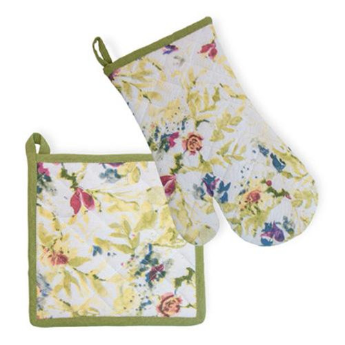 Boston International Potholder & Oven Mitt Set - Packed Flowers