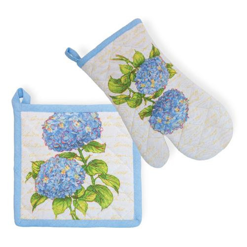 Boston International Potholder & Oven Mitt Set - Blue Heirloom