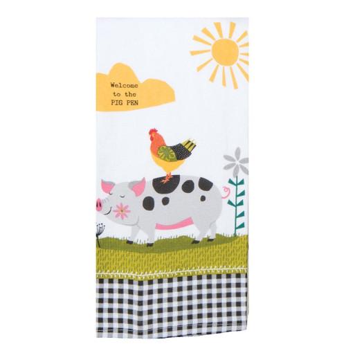 Kay Dee Designs Dual Purpose Towel - Farm Charm Pig
