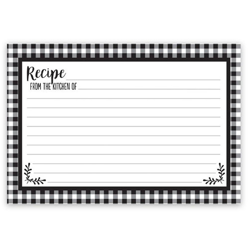 Brownlow Gifts Recipe Cards 4 x 6 - Black & White Checkered