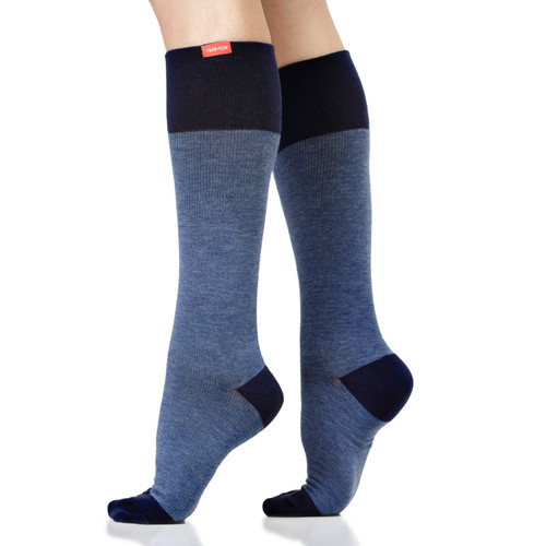 VIM & VIGR 15-20 mmHg Unisex Compression Socks - Heathered Collection Navy