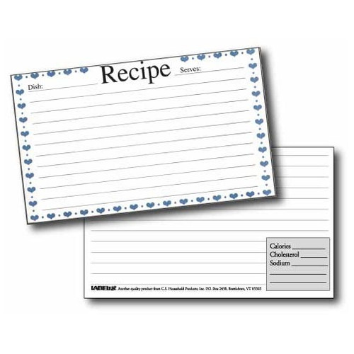Labeleze Recipe Cards with Protective Covers 4 x 6 - Blue Hearts