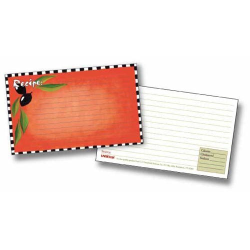 Labeleze Recipe Cards with Protective Covers 3 x 5 - Olives