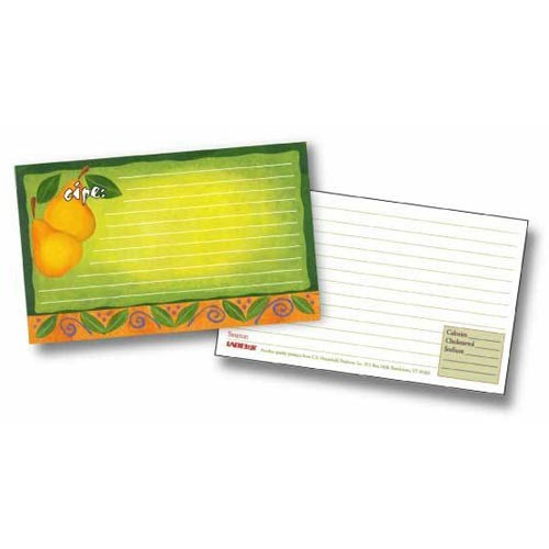 Labeleze Recipe Cards with Protective Covers 3 x 5 - Pears