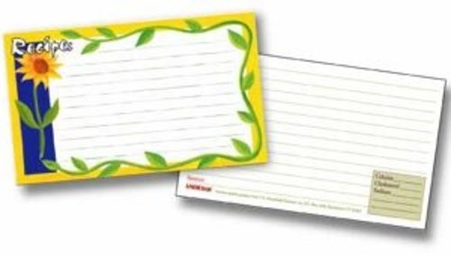 Labeleze Recipe Cards with Protective Covers 3 x 5 - Sunflowers