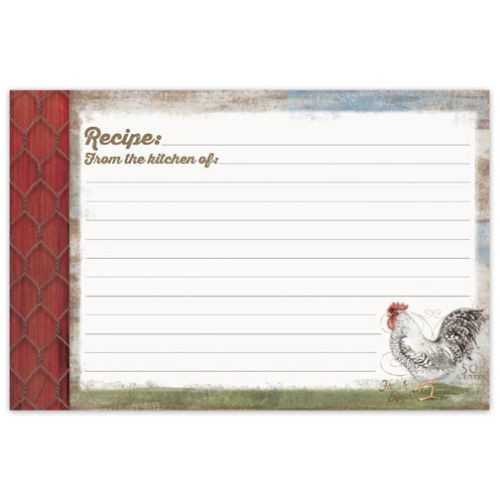Brownlow Gifts Recipe Cards 4 x 6 - Barnyard Rooster