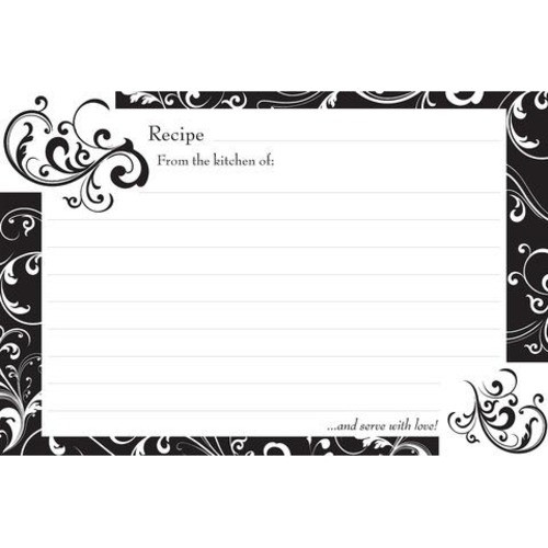 Brownlow Gifts Recipe Cards 4 x 6 - Black & White