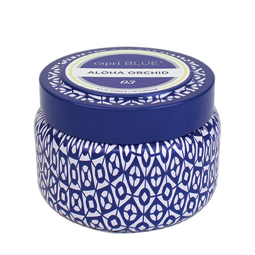 Capri Blue Printed Travel Tin 9 Oz. - Aloha Orchid