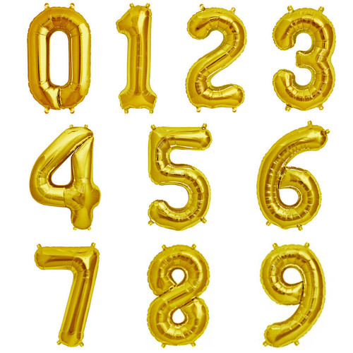 "34"" Gold Number Balloons 亮金色大數字"