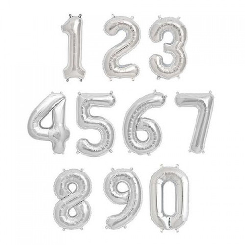 """34"""" Silver Number Balloons 銀色大數字"""