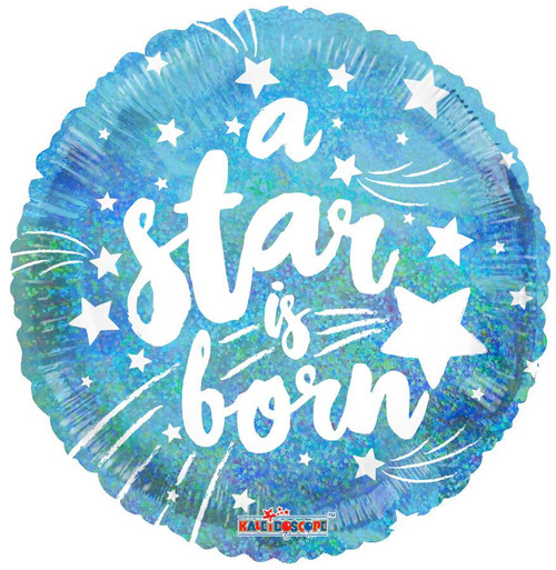 "18"" Round ""A Star Is Born"" Blue Holographic Balloon 藍色明星出生(閃)"