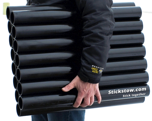Portable stickstow holds upto 15 sticks.  Sturdy upright free standing light weight just gets the job done.