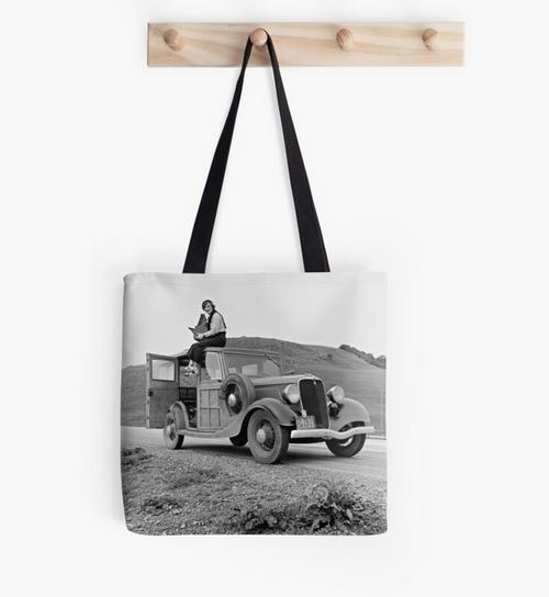 Tote Bag - Dorothea Lange on car