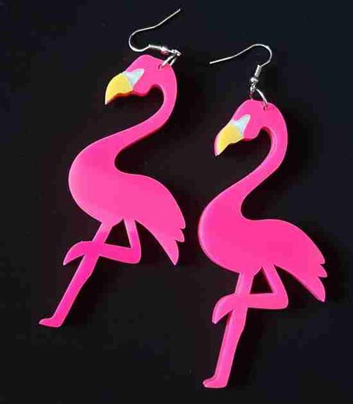 Acrylic Flamingo Bird Drop Dangle Earrings