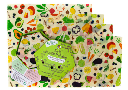 Buzzee Reusable Foodwraps - 4 Pack