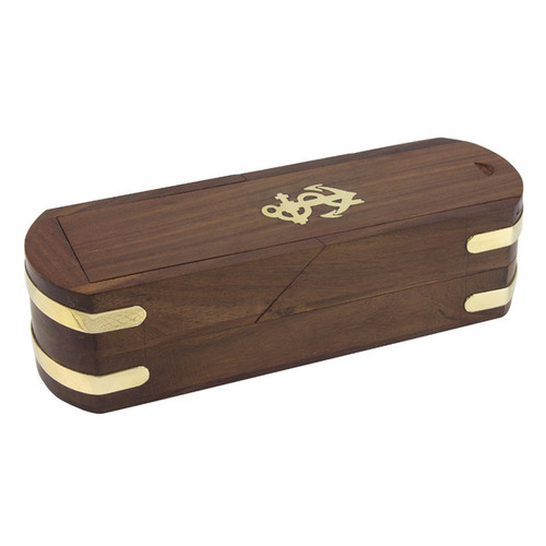 Wood and Brass Pencil Box