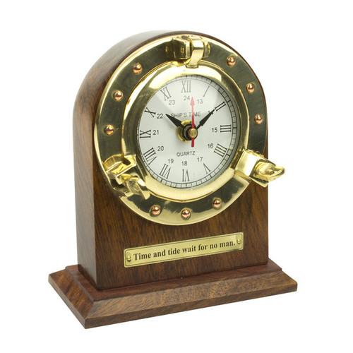 Porthole Wood and Brass Desk Clock