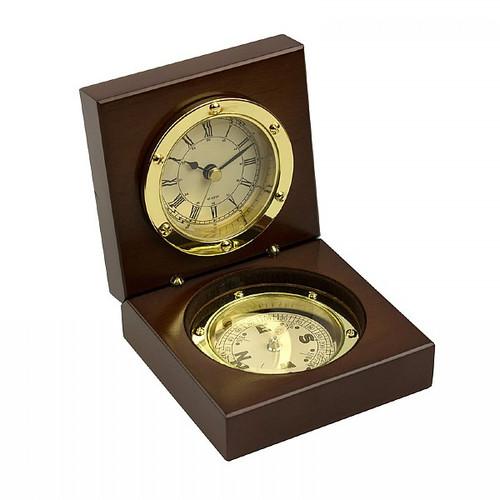 """Admiral's Brass Clock & Compass Set (3.5"""")"""
